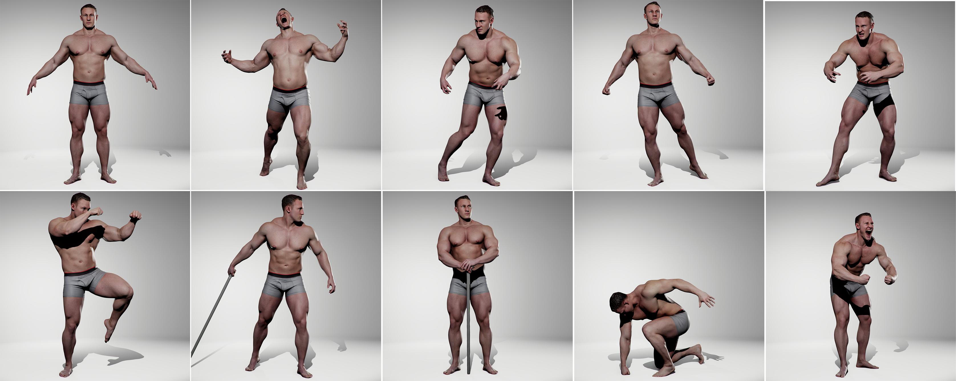 Male Hero Pose Pack Anatomy 360